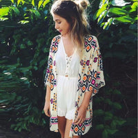 Ladies Summer/ Fall Floral Chiffon Geometry Loose Cardigan - Monetta