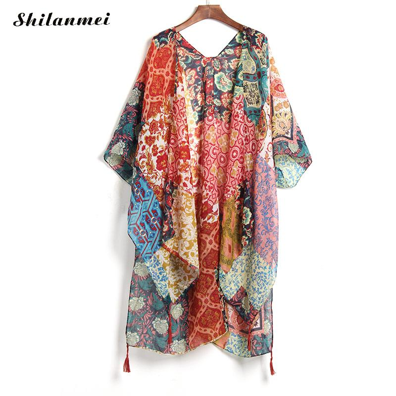 Summer/Fall Long Kimono Chiffon Beach Cardigan - Monetta