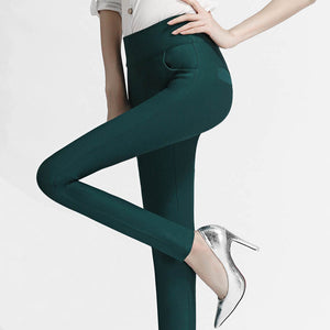 6 Spring/ Fall Colors High Waist Ladies Slim Elastic Stretched Leggings - Monetta