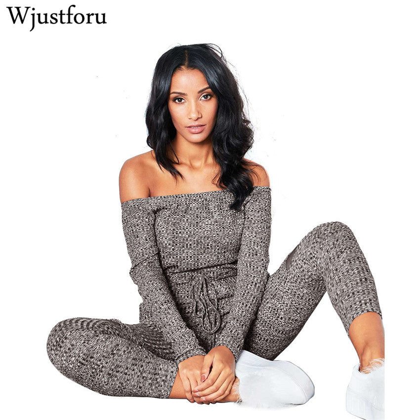 Wjustforu Fall Off Shoulder Ladies Long Sleeve Casual Rompers/Jumpsuit - Monetta