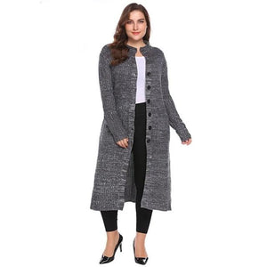 Ladies Plus Size XL-5XL Fall/Winter Long Sleeve Button Down Knit  Coat - Monetta