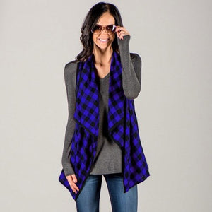Celmia 2018 Fall Women Casual Loose Grid Plaids Vest Cardigan - Monetta