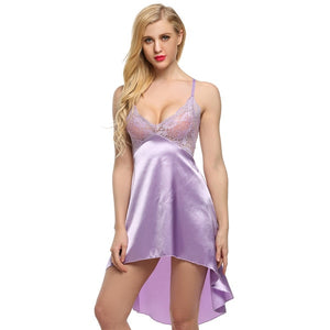 Ekouaer Ladies Sexy Satin Lace Sleeveless Nightgown - Monetta
