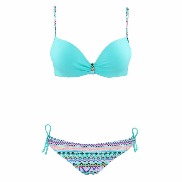 2018 Women's Vintage Brazilian Push Up Tropical Bikini - Monetta