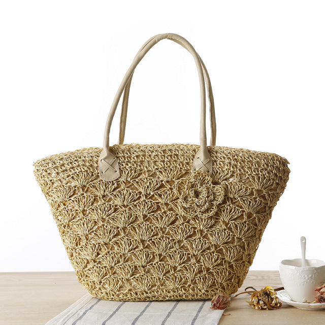 Premium Quality Summer Handmade Woven Straw Flower Shoulder Bag - Monetta