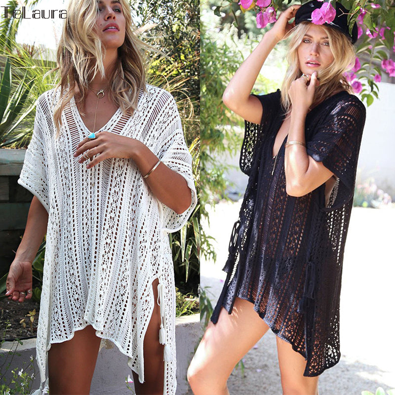 2018 New Crochet Knitted Tassel Tie Beachwear Cover Up - Monetta