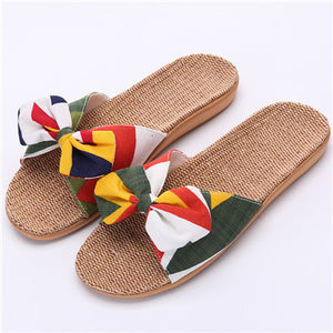 New Summer Women's Linen Flowers Bowknot Non-slip Beach Flip Flops - Monetta