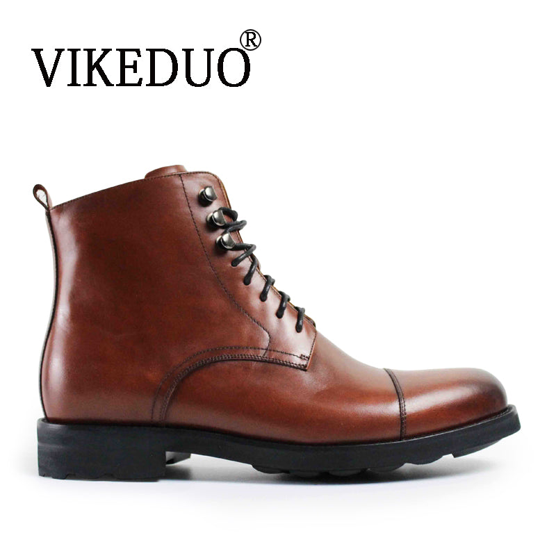 VIKEDUO Spring/Fall Vintage 2018 Retro Fashion Genuine Leather Boots - Monetta