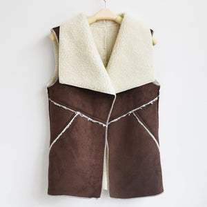 2018 Fall / Spring Women Suede Leather Faux Fur Herringbone Vest - Monetta