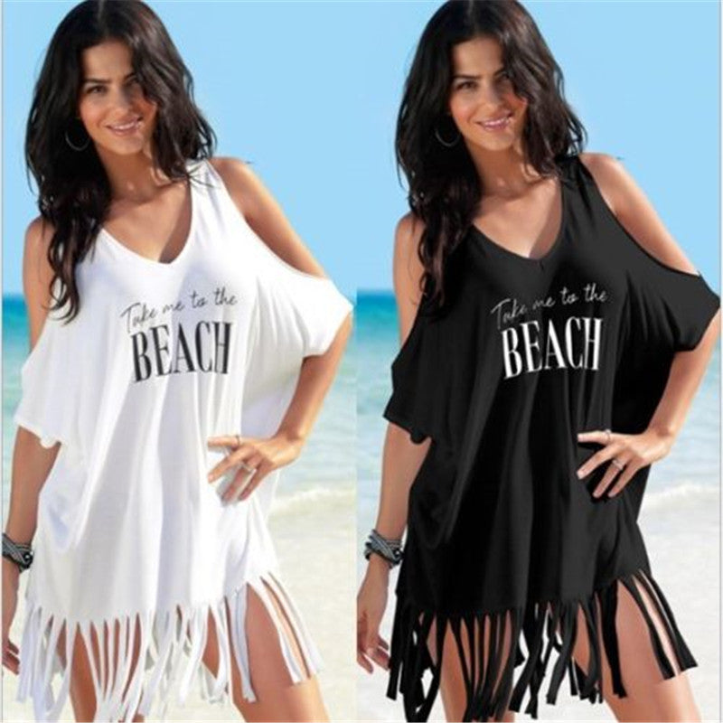 NEW 2018 Women Bikini Tassel Off-shoulder Beach Cover Up - Monetta