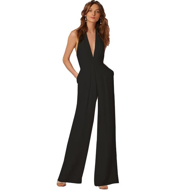 BEFORW 2018 New Casual Wedding Sleeveless Halter Jumpsuit - Monetta