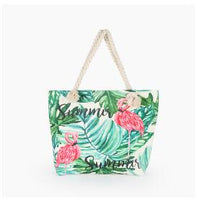 Hot Sale Flamingo Printed Casual Canvas Beach Bag - Monetta