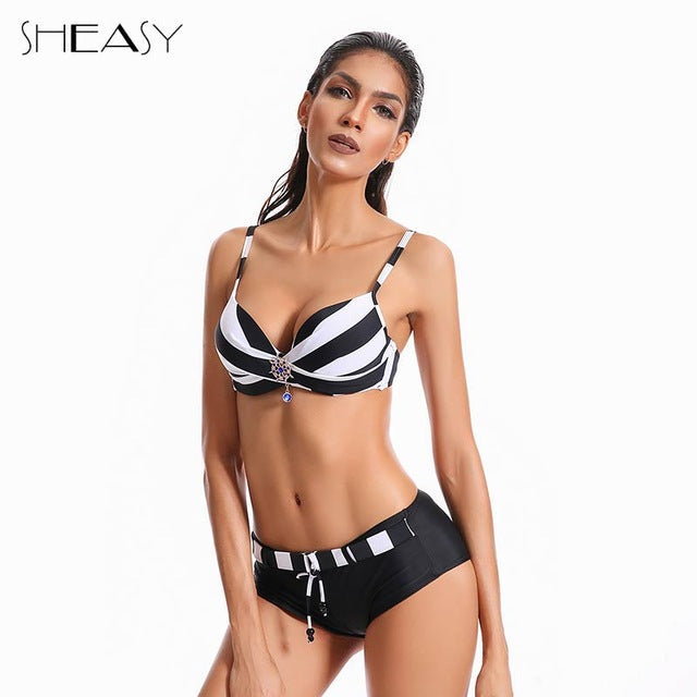 NEW HOT Summer Navy Striped Push Up Beachwear - Monetta
