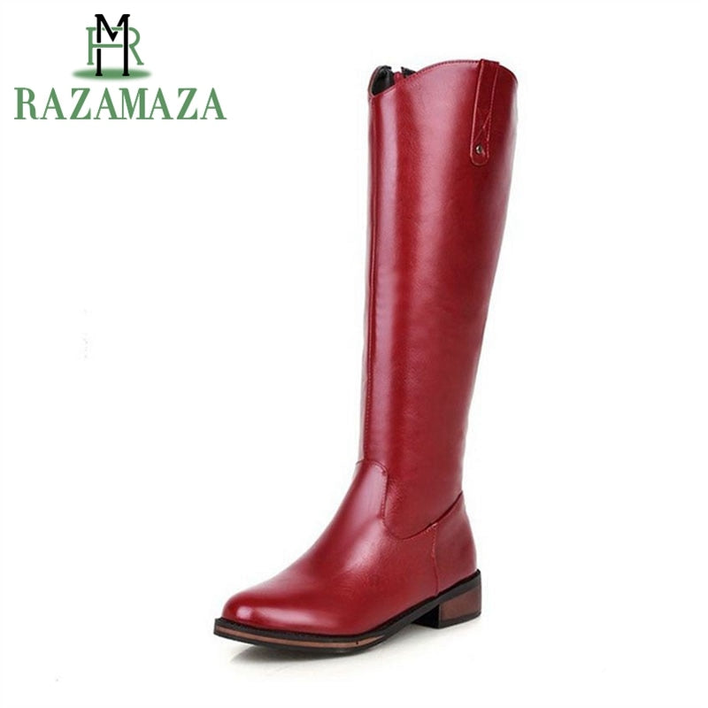 RAZAMAZA New Gladiator Spring/Fall/Winter Ladies Knee Fashion Zipper Boots - Monetta