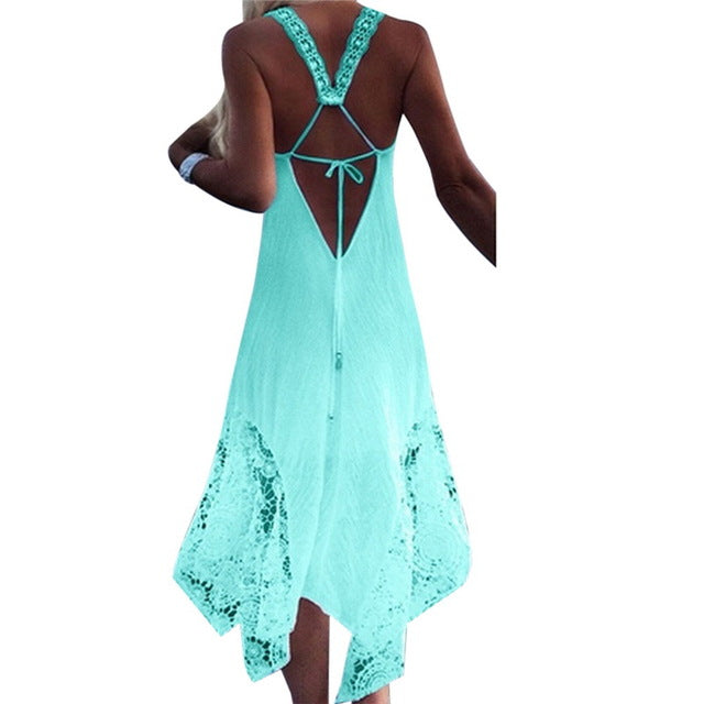 NEW 2018 CALOFE Long Beach Swimwear Dress Lace Cover (Plus Size Available) - Monetta