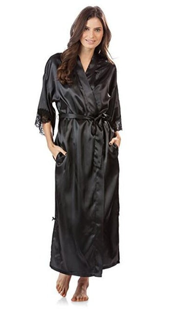 Summer Lace Satin Silk Kimono Long Robe - Monetta