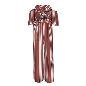 2018 Glamaker Stripe Off-Shoulder Chiffon Summer/Fall Jumpsuit - Monetta