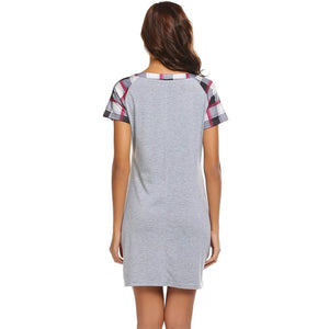 Ladies Spring/Fall Casual Plaid Short Sleeve Loose Chemise Dress Sleepwear - Monetta