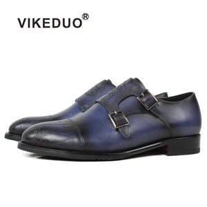 Vikeduo Spring/Fall Classic Ladies Strap Letter Pattern Blue Genuine Leather Shoes - Monetta