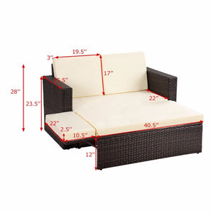Giantex 2PCS Patio Rattan Garden Furniture Set W/Cushions
