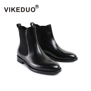 VIKEDUO 2018 Fall/Winter New Ladies Solid Black Chelsea Ankle Boots - Monetta