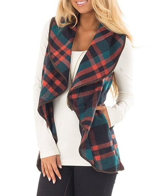 Fashion Woman Fall/Winter Basic Plaid Cardigan Vests - Monetta