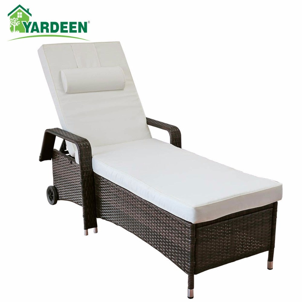 Yardeen Rattan Lounge Chaise All-Weather Adjustable Outdoor Recliner