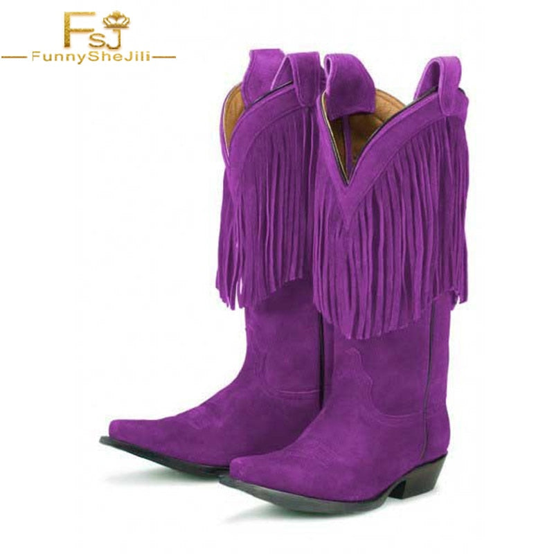 Purple Fall / Winter Fringe Mid Calf Suede Boots - Monetta