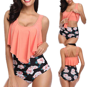 Kel Backless Halter Floral Printed Swimwear Set