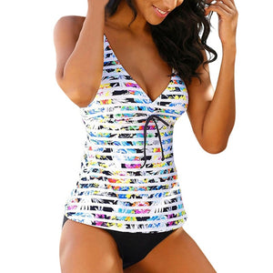Perimedes Summer Backless Stripe Tankini Swimwear