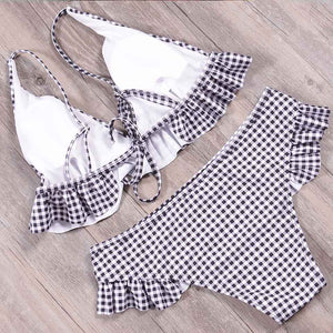 Sasha Checkered Lace Bikini Halter Swimwear Set