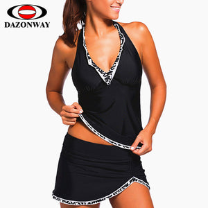 New V-neck Halter Two-piece Solid Color Skirt Swimsuit Set