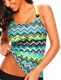 Ladies Surf Top Coral Zigzag Print Swimsuit