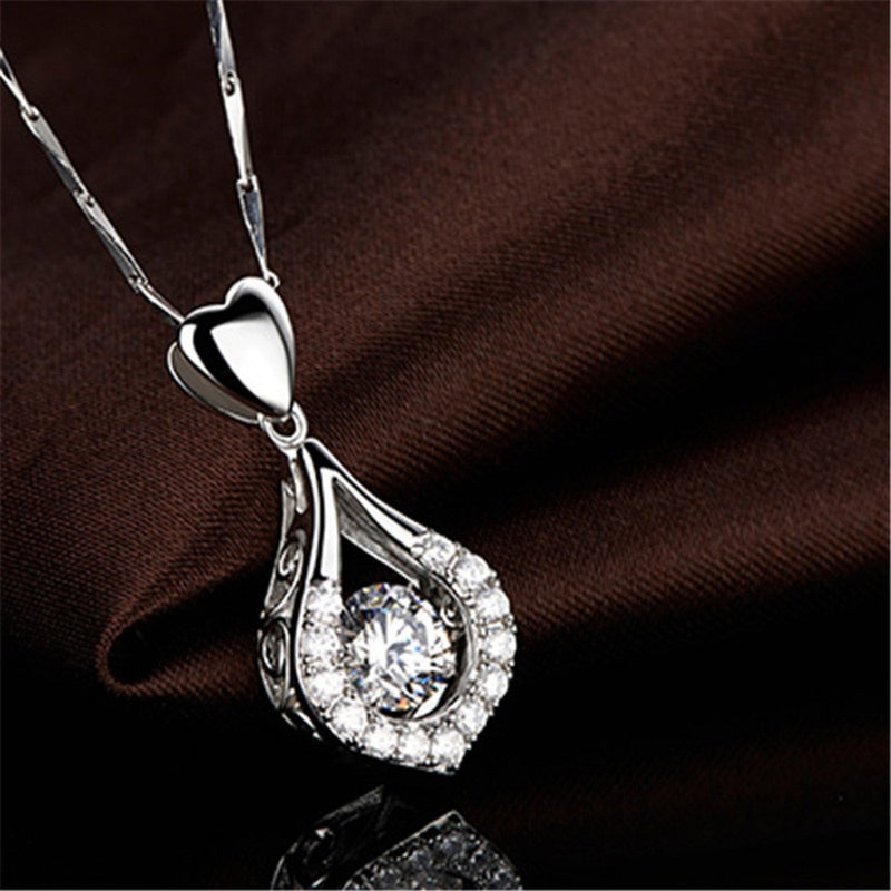 Beautiful Twinkling Waterdrop Heart Silver Pendant Necklace