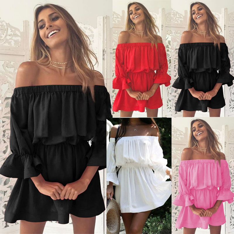 Ladies Off Shoulder Flare Dress
