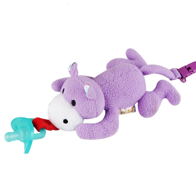 Baby Pacifiers Holder with Plush Animal Toy