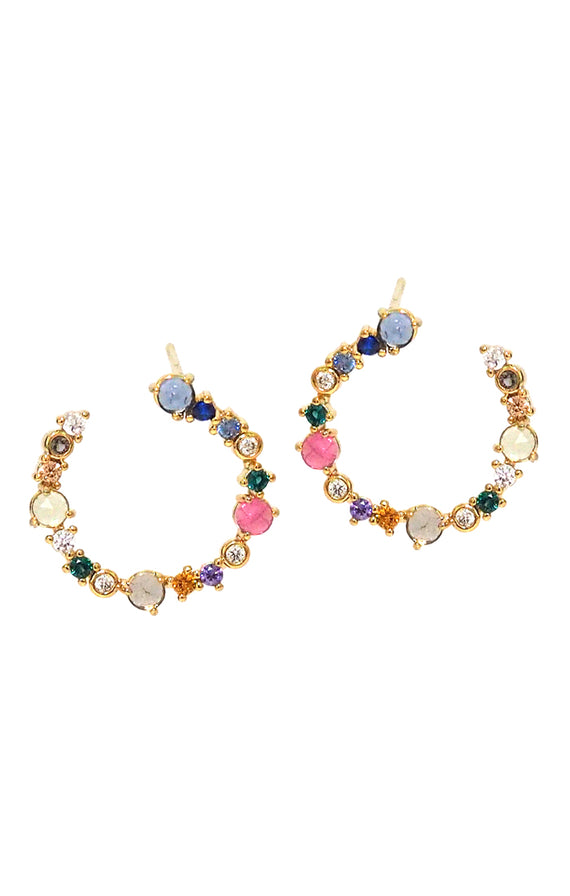 Tai Circle earring with colored stones