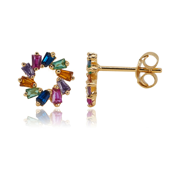 Multi-Colored Circle baguette Stud Earring