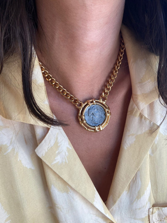 VINTAGE LARGE ANCIENT ROMAN COIN NECKLACE