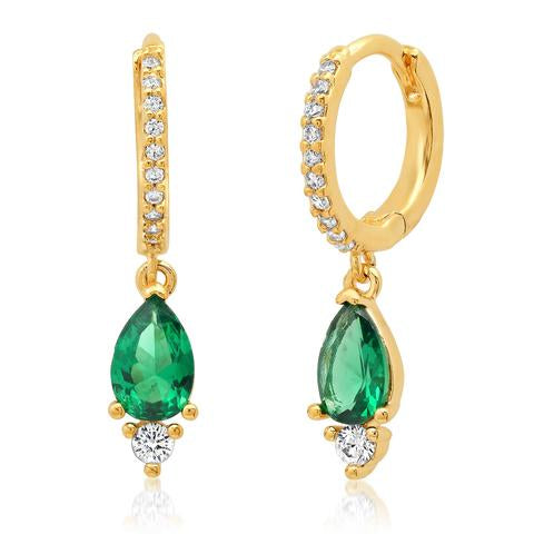 PAVE CZ HUGGIES WITH EMERALD AND CZ DROPS EARRING