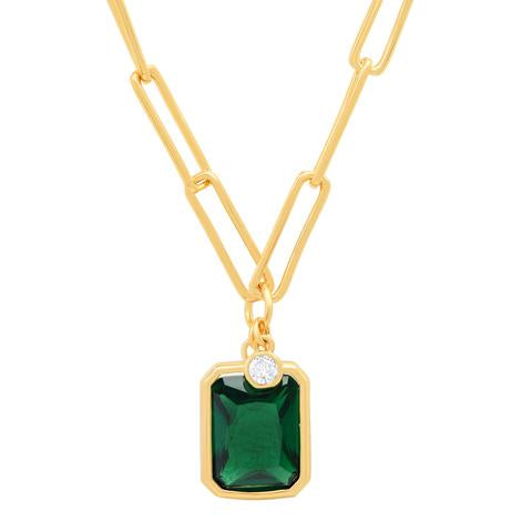 GOLD LINK CHAIN WITH BEZEL SET EMERALD CZ STONE PENDANT