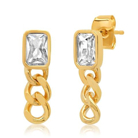 BEZEL SET EMERALD CUT CZ STUD WITH CHAIN DROP EARRING