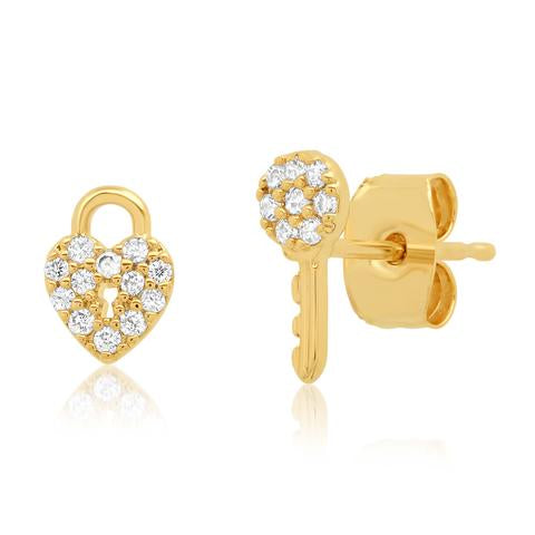 PAVE CZ HEART LOCK AND KEY STUDS EARRINGS