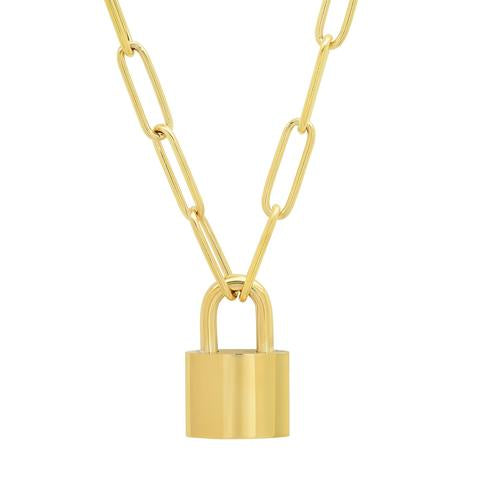 OVAL LINK CHAIN NECKLACE WITH LOCK PENDANT