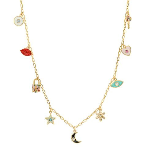 GOLD MULTI-CHARM NECKLACE