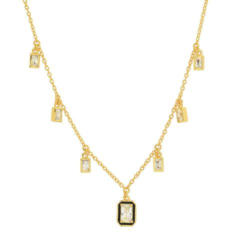 GOLD BAGUETTE DANGLE NECKLACE