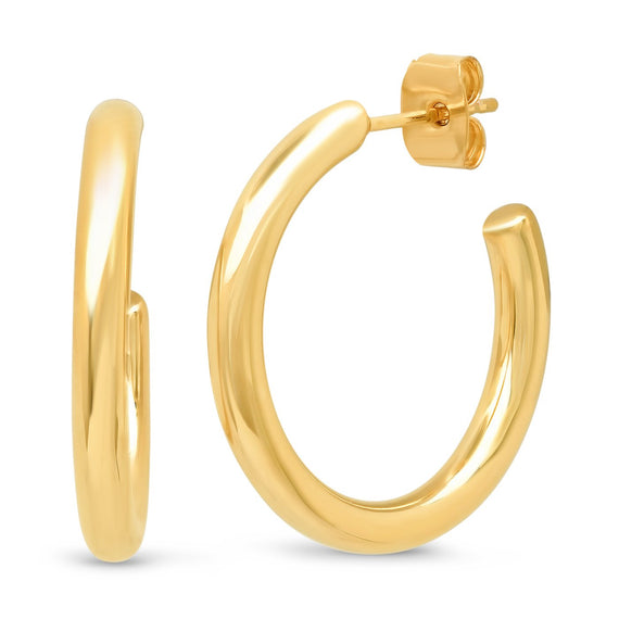 GOLD MEDIUM HOOPS EARRINGS