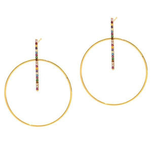 CIRCLE AND STICK DROP EARRINGS WITH COLORED STONES