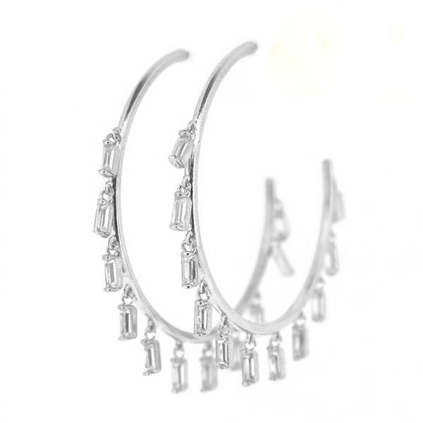 Baguette Dangling Hoop Earrings