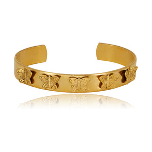 Thin Multi-Butterfly Gold Cuff